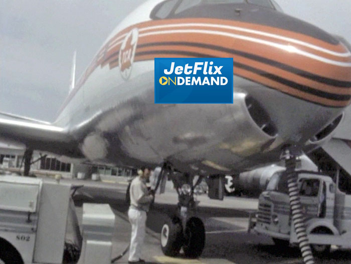 "Fabulous ramp view of Trans-Canada Air Lines Douglas DC-8-40 being ground serviced at Montreal Dorval Airport circa 1961, preview from the film ""Airlines in Canada 1960s"" which streams at JetFlix TV"