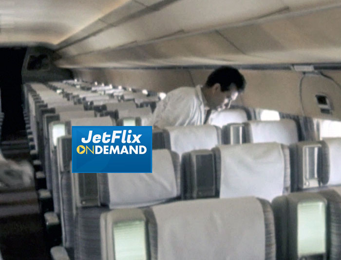"Interior view of passenger cabin of Trans-Canada Air Lines Douglas DC-8 at Dorval Airport circa 1961, preview from the film ""Airlines in Canada 1960s"" which streams at JetFlix TV"