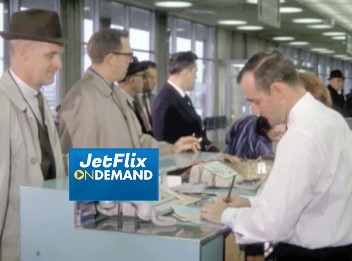 "Passengers at the Montreal Dorval Check-in counter, preview from the film ""Airlines in Canada 1960s"" streaming at JetFlix TV"