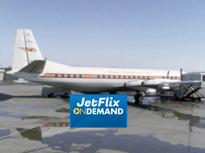 "Lovely view of a Trans-Canada Air Lines Vickers Vanguard being ground serviced at Montreal Dorval Airport circa 1962, preview from the film ""Airlines in Canada 1960s"" which streams at JetFlix TV"