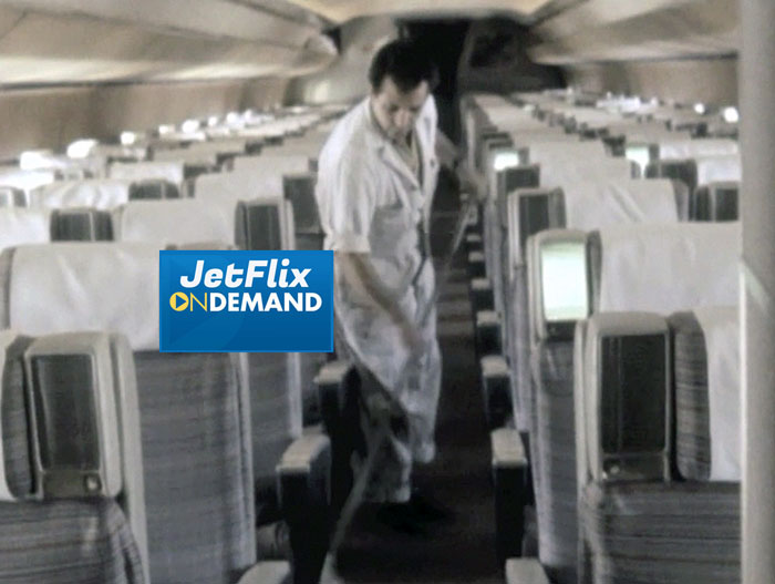 "A Trans-Canada Air Lines groomer prepares the passenger cabin of a Douglas DC-8-40 for passenger boarding at Dorval Airport circa 1962, preview from the film ""Airlines in Canada 1960s"" which streams at JetFlix TV"