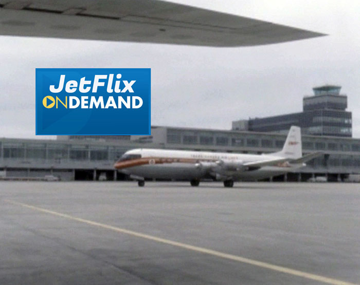 "A Trans-Canada Air Lines Vickers Vanguard taxiing in front of the main terminal building at Dorval Airport circa 1962, preview from the film ""Airlines in Canada 1960s"" which streams at JetFlix TV"
