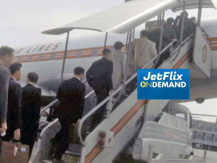 "Passengers boarding rear stairs to a Trans-Canada Air Lines Douglas DC-8 at Dorval Airport circa 1962, preview from the film ""Airlines in Canada 1960s"" which streams at JetFlix TV"