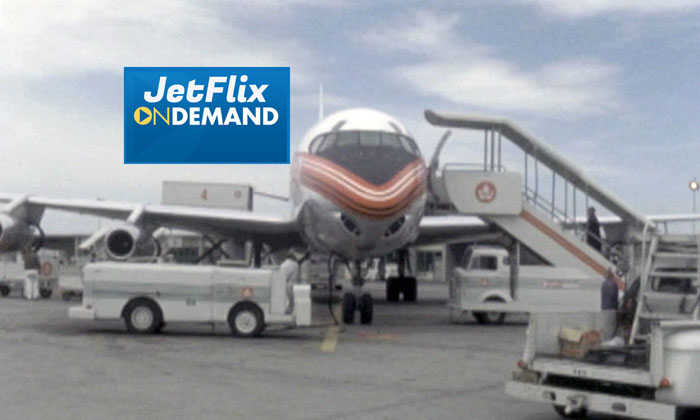 "Trans-Canada Air Lines Douglas DC-8 being ground serviced at Dorval Airport circa 1961, preview from the film ""Airlines in Canada 1960s"" which streams at JetFlix TV"